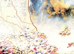 Illuminated Map #15 (The Grand Collage) Tags: map fantasy egypt roses carpet islands road mountains water desert wall texture