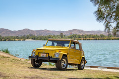 Another Thing by the Lake (Eric Arnold Photography) Tags: vw volkswagen thing safari type181 181 yellow baja lake water canon 80d canon80d 24105mm f4 ragtop chino ca california pradoregionalpark prado regional park chrome wheels blackstar camp campout