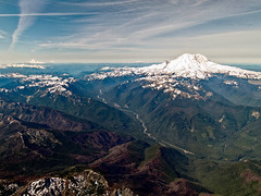 Four Volcanos (LifeLover4) Tags: aerial washington volcano ringoffire pacificnorthwest windowseat snow contrails mtrainier carbonriver explore explored interesting interestingness