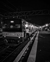 Train to Bogor (rizqyunggul) Tags: amateur jakarta indonesia station urban night train transportation streetphotography publicplace outdoor blackwhite