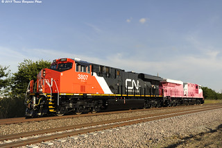 Canadian National 3807 and Roy Hill 3023 testing at the GE Plant in Justin, Texas