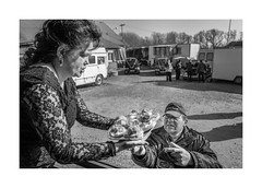 Sandwiches (Paphylo) Tags: countryside leicaq sandwiches carnies monochrome přelouč caravan people reallife blackandwhite wedding countrylife village carny document