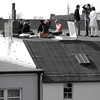 roof party (j.p.yef) Tags: peterfey jpyef yef roof people young seasons spring summer monochromeplusred bwplusred square photomanipulation city germany hamburg selectivecolor