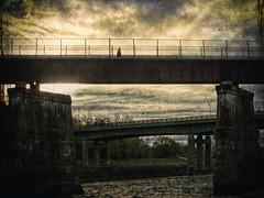 Pilgrimage (delmarvajim) Tags: digitalart digitalprocessing digitaleffects bridges river darkdrama walker