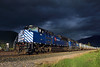 Storm light at Pipeline (Moffat Road) Tags: montanaraillink mrl gastrain gaslocal pipeline thompsonfalls montana stormlight storm clouds darkclouds emd sd70ace 4312 mrlfourthsub mrl4thsub