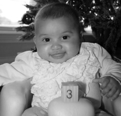 3 Months Old (McKenzie's Photography) Tags: infant baby girl female young newborn one month two three grandchild daughter family love block sleep rest sit chair bumbo black white pink indoor inside new life
