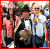 Dr. Takeshi Yamada and Seara (Coney Island sea rabbit). Brooklyn, New York.     20160626Sun Gay Pride Parade. !DSCN7071=X3035pC RED (searabbit29) Tags: takeshiyamada fineartexhibitions museumcollections famous japanese japaneseamerican artist osaka tokyo japan tv painting sculpture photography graphicdesign sideshow freakshow banner gaff performance fashiondesign fashion tophat jabot jewelrydesign victorian gothic goth steampunk dieselpunk fashiondesigner playboy bikini roguetaxidermist roguetaxidermy taxidermist taxidermy specialeffect cabinetofcuriosities dimemuseum seara searabbit coneyisland mythiccreature cryptozoology cryptid brooklyn newyorkcity nyc newyork