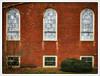 Three over Three (Timothy Valentine) Tags: 2018 wednesday window brick church 0418 eastbridgewater massachusetts unitedstates us