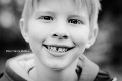 B&W 74/365 (lucyrogersphotography) Tags: blackandwhitephotochallenge blackandwhite photochallenge nephew family child littleboy boy babyboy cutie smile 6yearsold myfamily blondeboy 50mm portrait childportrait