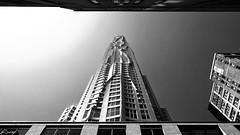 New York by Gehry (iecharleton) Tags: newyorkbygehry sprucestreet building architecture newyork manhattan financialdistrict apartments residence lowangle blackandwhite sky steel wideangle