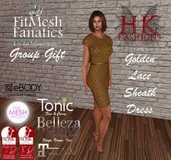 HK FFGG Golden Lace Sheath Dress (Hυℓι Rєgιηℓєιƒ) Tags: secondlife fitmesh bellza maitreya slink tonic ebody tmp dress lace gold brown neutral