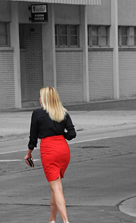 Lady Entering Sacred Heart Church, Parish Office, Tamp, Florida