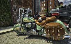 Indian brand vintage-style motorcycle (Jeananne Martin) Tags: indian chief green cream cool