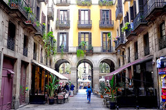 Windows, Doors  & Balconies (Fnikos) Tags: street plaça plaza plazareal plaçareial door window balcony city building column architecture wall café bar restaurant shop store tree palmtree plant nature people outdoor