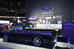 Custom late 60's or early 70's Chevy truck -- 2018 North American International Auto Show (Corvair Owner) Tags: north american international auto show detroit michigan mi mich new car display automobile truck suv crossover manufacturer january 2018 cobo arena hall center winter chevy chevrolet customized custom pickup