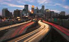 Whoooosh, Minneapolis (reinaroundtheglobe) Tags: minneapolis minnesota traffic highway rushhour lighttrails cityshots cityscape skyline
