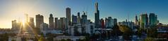 Sun setting over Melbourne (NettyA) Tags: australia melbourne sonya7r southbank victoria buildings city pano panorama settingsun skyline sun sunburst sunrays