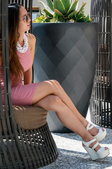 All About Legs in Pink Dress (Lexmax08) Tags: asian vietnamese woman female model sexy pretty legs pink dress toes open toe white heels shoes chair wicker plant sunlight daylight sunglasses sitting sit