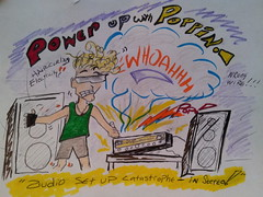 Poppin's mechanical mishaps! (trinacolada world) Tags: drawing humour cartoon color sketch audio stereo boy man humor text action