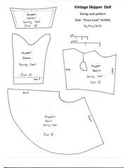 Skipper Swing Coat Pattern (Foxy Belle) Tags: skipper pattern vintage doll barbie free sew dress 1960s early