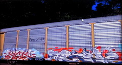 (timetomakethepasta) Tags: kick trav msk freight train graffiti art autorack ferromex