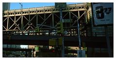 Pearl St. & Dover, Manhattan. NY. (tonywright617) Tags: pearlst doverst brooklynbridge manhattan ny newyork fujig617 kodak iso400 mediumformat 120 film analogue