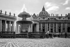 Peter's Dome fountain (zvaehn) Tags: black white bw city urban vatikan fountain