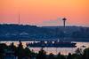 Seattle Sunrise Elliott Bay (www.mikereidphotography.com) Tags: seattle downtown spaceneedle shipping sunrise