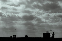 SkyLine (mikeyp2000) Tags: rooftops duotone monochrome sky splittone chimney skyline mono clouds