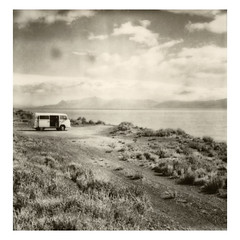 Far from the fury of the world, 2018 (Steffell) Tags: argentina patagonia roadtrip truck lake polaroid sx70 bw traveller