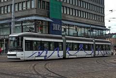 "Helsinki City Transport (HKL-Raitioliikenne) Transtech ""Artic"" tram 404 on Kaivokatu on 18 May 2018 (Trains and trams eveywhere) Tags: transtech helsinki finland tram tramways articulated 3car electric green artic brandnew interior lowfloor raitiovaunua madeinfinland kotimainen hkl helsinginkaupunginliikennelaitos hklratioliikenne sokos lasipalatsi kaivokatu"