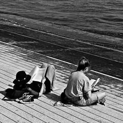 Two girls reading near Tagus River (pedrosimoes7) Tags: blackwhitepassionaward blackandwhite