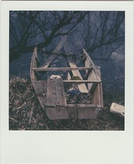 sinking boat   -- RoidWeek, 2018 Spring, Day 1. no.2. (lengvari) Tags: reflection lake impossibleproject film instant tree boat sinking