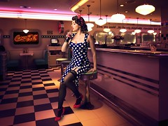 IRENE waiting in diner (mister evans) Tags: 1950s pinup stunning beautiful babe polkadots highheels stockings suspenders coke cola pout lipstick pretty nikon d800 strobe