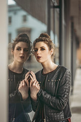 Person on the other side (Wojtek Piatek) Tags: model girl fashion urban city window reflection sony sonya7 a7rii 85mm glass pane leather jacket white day dublin