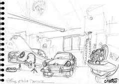 Aiffres, devant l'atelier, un Mini, une Jaguar MKII, une Rover (Croctoo) Tags: croctoo croctoofr croquis crayon mécanique poitou