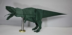 Origami Giganotosaurus (Tankoda) Tags: origami paper art giganotosaurus carolinii late cretaceous travis nolan shuki nature study 24 teeth 70 cm biotope forest green indoors dinosaurs mesozoic tongue theropod carnivore 16 hours kato