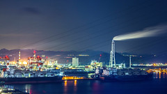 night port (Wilson Au | 一期一会) Tags: takamatsu japan port night canon slowshutter longexposure eos5dmarkiii ef70200mmf4lisusm smoke factory 169 shikoku