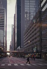 Early Morning Downtown (Jovan Jimenez) Tags: canon eos 7ne tokina 1116mm fujicolor c200 chicago elan 7s 30v 33v atx pro dx fuji fujifilm building skyscraper city intersection architecture film analog plustek opticfilm ai 8200i analogue