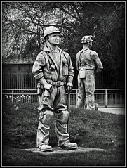 Memorial to the Miners. (Jason 87030) Tags: memory memorial scuplture statue roundabout globeisland staffs staffordshire cannockchase pick shovel helmet miner job work bw bbw blackandwhite rugeley april council honour leahall pit coal coalfields mining industry colliery collieries
