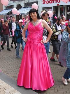 My pink satin ballgown