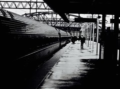 Rainy Days and Trains (Professor Bop) Tags: canonpowershota1100is professorbop drjazz railroad railway amtrak blackandwhite bw rain mosca