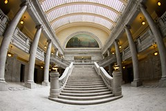 Utah Capitol Building (Karen_Chappell) Tags: utah travel usa fisheye canonef815mmf4lfisheyeusm wideangle steps stairs building architecture saltlakecity ceiling arch skylight columns symmetry capitol