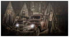 The Meeting (brian_stoddart) Tags: chicago gangsters car nightime light vintage colour composite tone
