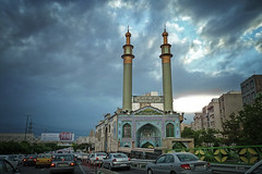 on Tehran streets (freakingrabbit) Tags: teheran tehran city popular tags car traffic cars mosque jam sky dark clouds iran persia dusk