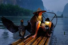 The cormorant fisherman (My Silent Wings2010) Tags: fisherman china evening guilin