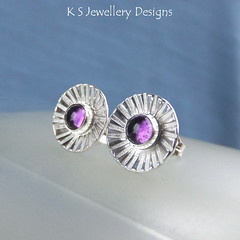 Amethyst Daisy Cup Sterling Silver Stud Earrings (KSJewelleryDesigns) Tags: metalwork studearrings earrings studs jewellery jewelry handmade brightsilver shine sterlingsilver silverjewellery handcrafted silver silverwire metal hammered shiny polished bright soldered soldering brushed flowers petals sawing piercing silversmith silversmithing metalsmithing metalsmith handstamped handstamping stamp metalstamp gemstone cabochon stonesetting amethyst