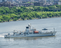 United States Navy Ship Maury (T-AGS-66) Oceanographic Survey Vessel, 2018 Fleet Week, New York City (jag9889) Tags: 2018 20180523 aerialview boat bridge bridges bruecke brücke crossing fleetweek fluss gw gwb georgewashingtonbridge hudsonriver infrastructure k007 manhattan ny nyc navy newyork newyorkcity outdoor pont ponte puente punt river ship span structure survey suspensionbridge transportation usnavy usa unitedstates unitedstatesnavy unitedstatesofamerica uppermanhattan vessel wahi washingtonheights wasser water waterway jag9889