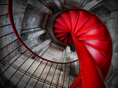red spiral staircase (marianna_armata) Tags: red spiral staircase fisheye wideangle mariannaarmata p2210345 montreal clock tower harbourfront