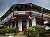 Franklin Tavern (AdamsWife) Tags: australia tasmania franklin tavern hotel pub building flowers plants entrance